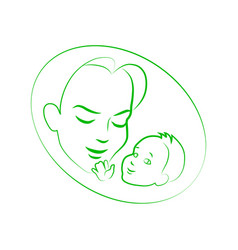 Sketch mother with small baby vector