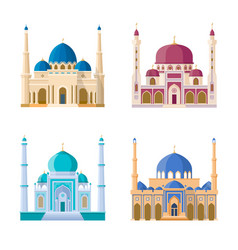 Set of four mosques arabic religion vector