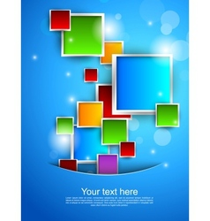 Blue background with colorful squares vector image
