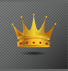 Golden crown icon with red stones vector