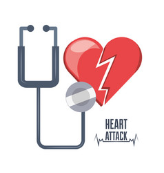 Heart attack and stethoscope and heartbeat vector