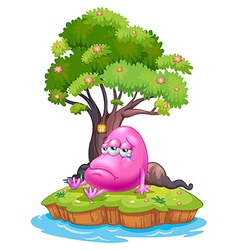A pink monster crying in the island vector
