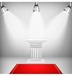 Illuminated ionic column with red carpet vector