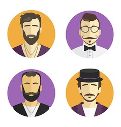Different men hipster avatar set collection vector