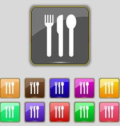 Fork knife spoon icon sign set with eleven colored vector