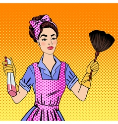 Woman cleaning the house girl doing house work vector