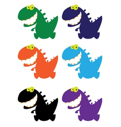 Little smile dino color vector