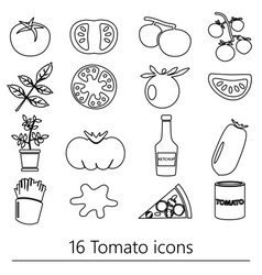 Tomatoes theme black simple outline icons set vector