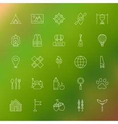 Adventure camping line icons vector