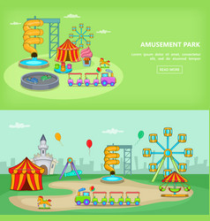 amusement park banner set horizontal vector image