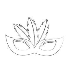 birthday mask feathers decoration celebration vector image
