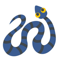 Blue snake with black stripes icon isolated vector