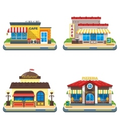 Cafe 2x2 Flat Icons Set vector image