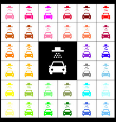 Car wash sign felt-pen 33 colorful icons vector