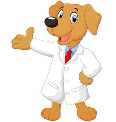 Carton doctor dog posing vector