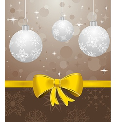 christmas card or background with set balls - vector image vector image
