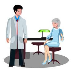 Doctor talking with elderly patient vector