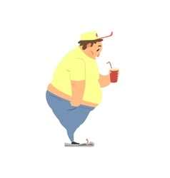 Fat Guy Drinking Soda vector image