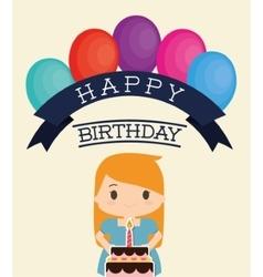 Girl cartoon and happy birthday design vector image vector image