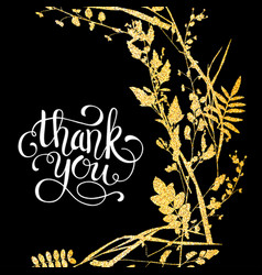 Glitter golden leaves card with thank you hand vector