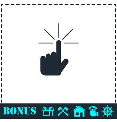 Hand click icon flat vector