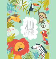Happy jungle animals creating a framed background vector