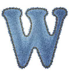 Jeans alphabet Denim letter W vector image vector image