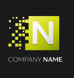 letter n logo symbol in the colorful square vector image vector image