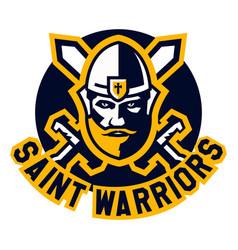 logo saint warriors face knight paladin viking vector image vector image