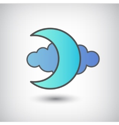 Moon and cloud icon isolated vector