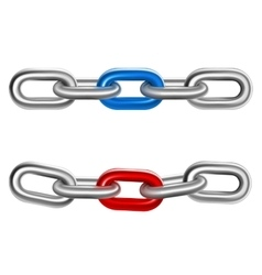 Realistic steel chains 2 pieces set vector