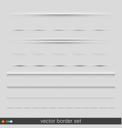 Set of dividers isolated on grey background vector