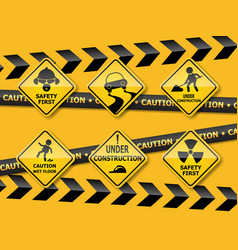 set of warning caution sign vector image