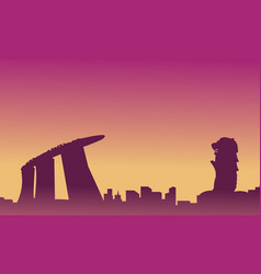 Silhouette of singapore city skyline landscape vector