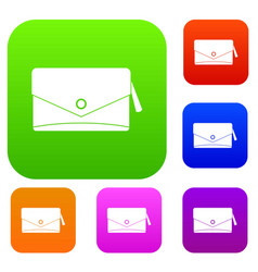 small bag set color collection vector image vector image