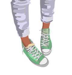 Sport shoes mint colour on background vector