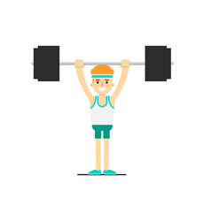 sporty boy in sportswear lifting barbell vector image