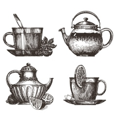 Tea party logo design template drink or vector