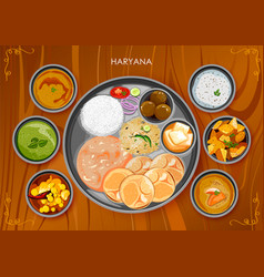 Traditional haryanavi cuisine and food meal thali vector