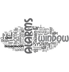 Window alarms text word cloud concept vector