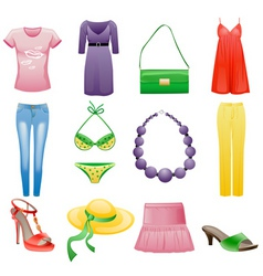 womens clothes and accessories vector image vector image