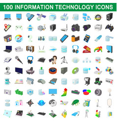 100 information technology icons set vector image vector image