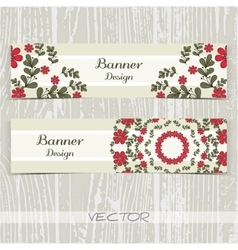 Banners ornament red flowers vector
