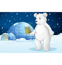 Polar bear and igloo vector