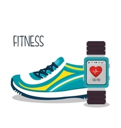 Cartoon sneakers smart watch sport elements design vector