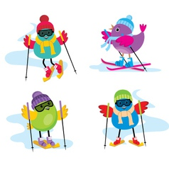 Skiing birds vector