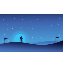 Happy people skiing sport at night landscape vector