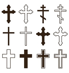Big set of christian orthodoxy crosses vector