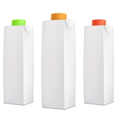 Juice packs with color lids vector