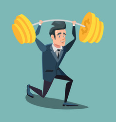 happy businessman lifting up barbell vector image